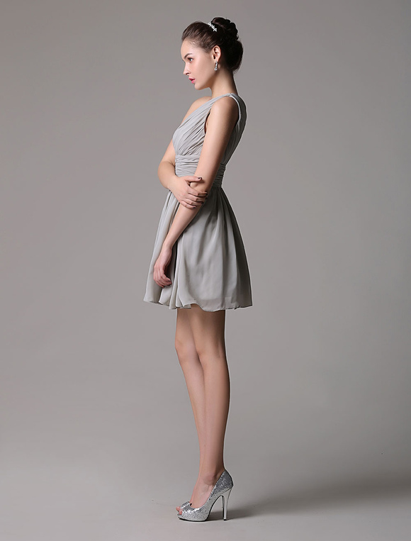Pretty Light Slate Gray Short A-Line Cocktail Dress with One ...