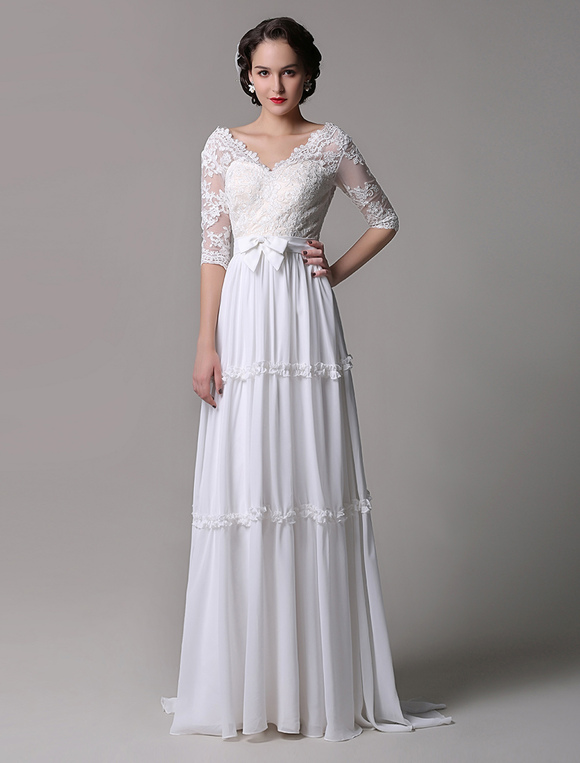 Boho Wedding Dress Vintage A-Line Lace Chiffon Half Sleeves V-neck ...
