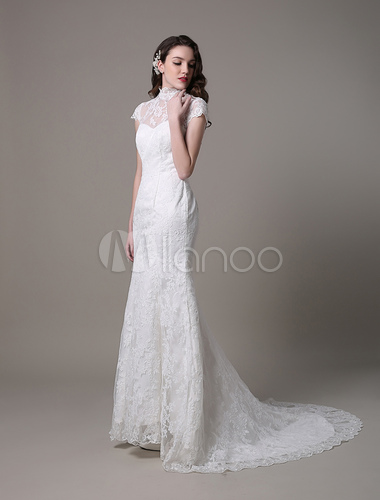 Vintage Lace Wedding Dress With High Neck Cap Sleeves And Keyhole ...