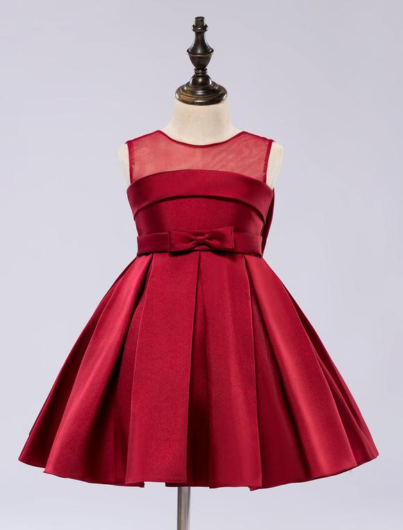 satin blume m dchen kleid kleinkinder knielangen satin pageant abendessen kleid. Black Bedroom Furniture Sets. Home Design Ideas