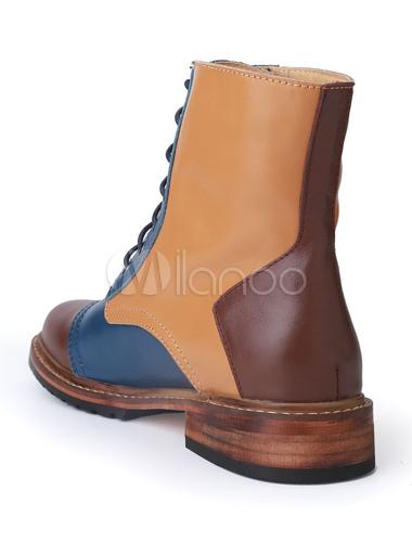 メンズ靴 スプリット ショートブーツ レザー 丸いつま先 編み上げ シック&モダン カジュアル カラーブロック