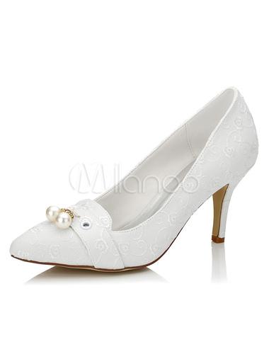 chaussures de mariage ivoire fait perles dentelle brod e haut talon chaussures de mari e. Black Bedroom Furniture Sets. Home Design Ideas