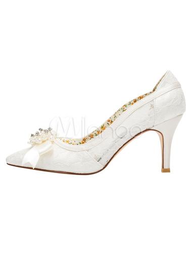 dentelle mariage chaussures ivoire haut talon pompes fait bow perle slip mari e. Black Bedroom Furniture Sets. Home Design Ideas