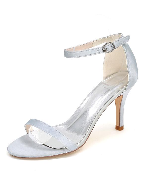 wei e hochzeit schuhe high heel sandalen ankle strap open. Black Bedroom Furniture Sets. Home Design Ideas