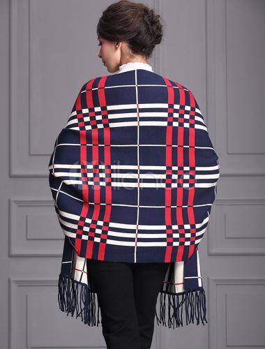 poncho schal wickeln karierte damen batwing oversize cape strickjacke mit quasten. Black Bedroom Furniture Sets. Home Design Ideas