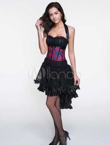 sexy bustier f minin ensemble de corset et jupon rose en polyester jacquard imprim fleuri. Black Bedroom Furniture Sets. Home Design Ideas