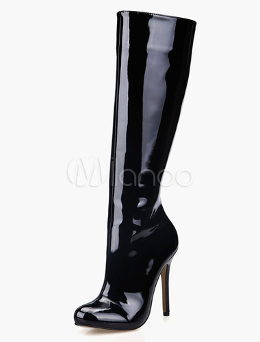 black stiletto heel knee length patent leather womens