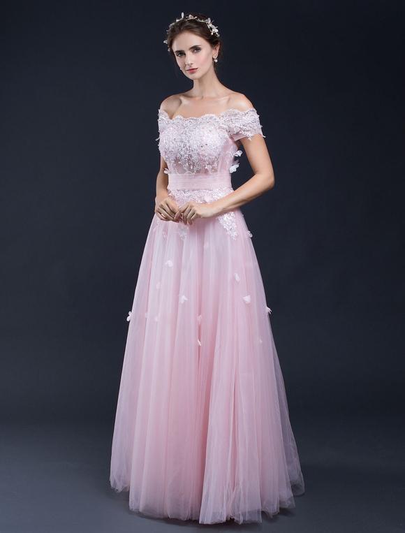 beach wedding dress pink lace applique off the shoulder a line floor length bridal gown. Black Bedroom Furniture Sets. Home Design Ideas