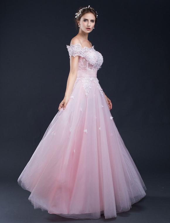 Beach Wedding Dress Pink Lace Applique Off The Shoulder A