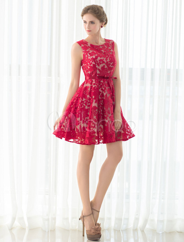 Lace Cocktail Dress Red Short Prom Dress A Line Sleeveless