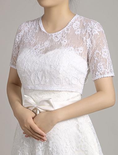 veste top blanc manches courtes shrug glissi re au dos nuptiale r colte haut de mariage en. Black Bedroom Furniture Sets. Home Design Ideas