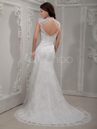 Robe de mariée sirène blanche en satin et dentelle col roulé ...