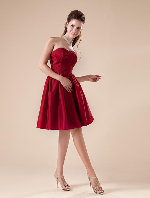 robe demoiselle d 39 honneur bordeaux pliss e de col coeur. Black Bedroom Furniture Sets. Home Design Ideas
