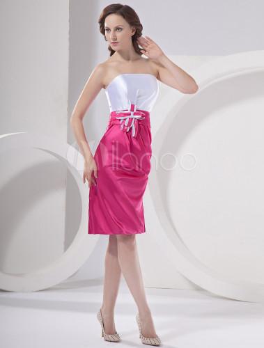 robe demoiselle d 39 honneur fourreau fuchsia chic en satin. Black Bedroom Furniture Sets. Home Design Ideas