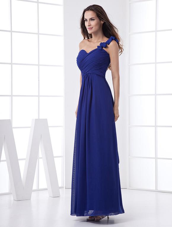 Robe demoiselle d 39 honneur bleue royale avec fleur une for Robe bleue royale pour mariage