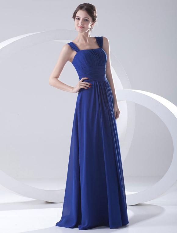robe demoiselle d 39 honneur en chiffon bleu royal bretelles. Black Bedroom Furniture Sets. Home Design Ideas