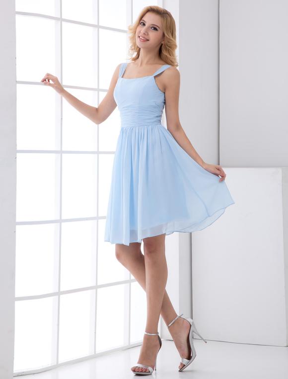 Chiffon Bridesmaid Dress Short Sleeveless Wedding Party Dress ...