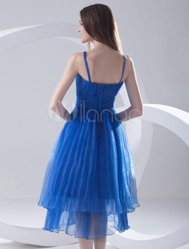 Robe de c r monie a ligne bleue royale en organza for Robe bleue royale pour mariage