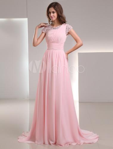 Abendkleid aus chiffon in rosa - Milanoo abendkleider ...