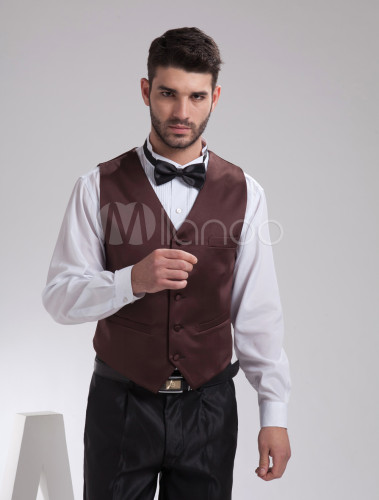 Gilet Uomo Matrimonio : Gilet da uomo marrone personalizzato elegante con bottoni