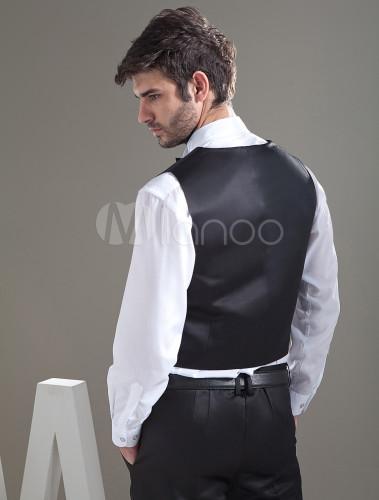 Gilet Uomo Matrimonio : Gilet da uomo nero personalizzato classico con bottoni in