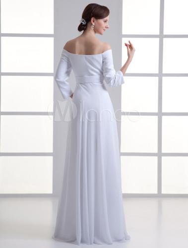 Robe de mariage a ligne blanche en chiffon avec encolure for Robes de mariage indien en ligne