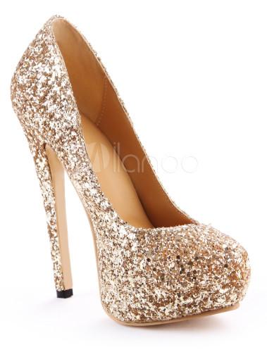 Zapatos Tacon Oro