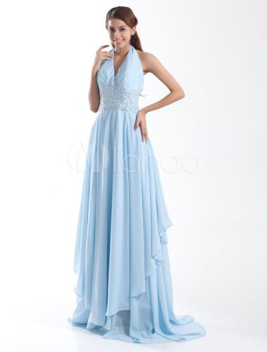 robe de soir e blouissante bleu ciel claire a ligne en chiffon licou et tra ne. Black Bedroom Furniture Sets. Home Design Ideas
