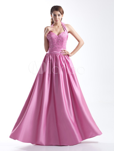 A-line Fuchsia Satin Prom Dress With Halter Bow