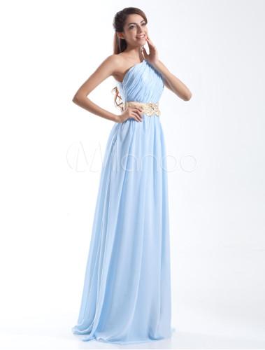 Robe de soir e fabuleuse bleu ciel claire a ligne en for Robes de mariage bleu ciel
