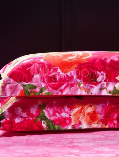 orientalisch rot bedruckte baumwolle 4tlg flower print. Black Bedroom Furniture Sets. Home Design Ideas