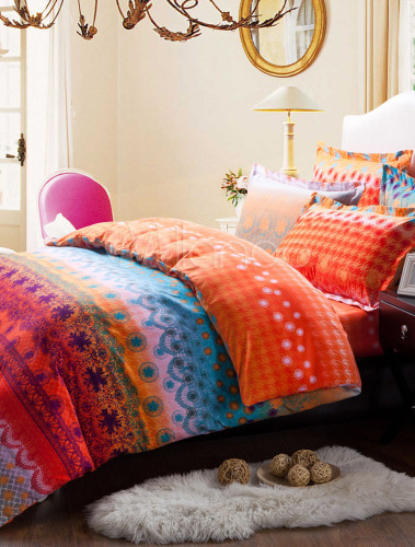 orientalische multi color artwork baumwolle 4tlg print cozy bettw sche sets. Black Bedroom Furniture Sets. Home Design Ideas