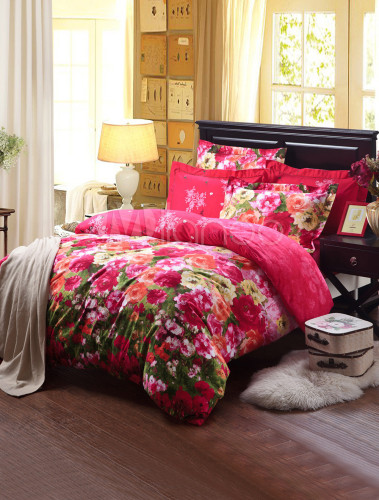 orientalisch rot bedruckte baumwolle 4tlg flower print. Black Bedroom Furniture Sets. Home Design Ideas