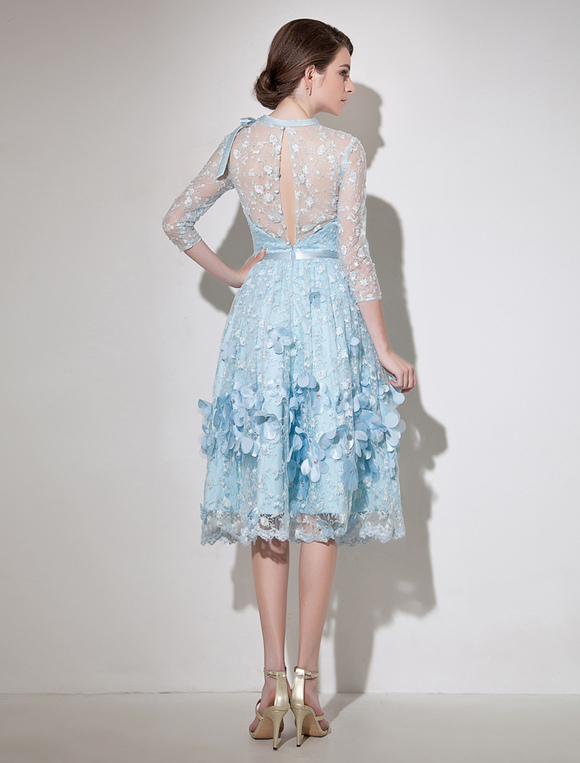 lace cocktail dress illusion 3d flower beaded prom dress pastel blue 3 4 length sleeve a line. Black Bedroom Furniture Sets. Home Design Ideas