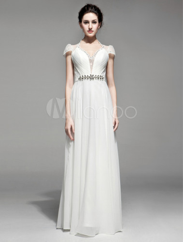 Vestidos De Baño Estilo Faja:Vestido de fiesta de gasa de color marfil sin mangas con faja de