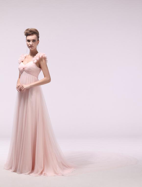rosa abendkleid lang mit blumen und kapelle schleppe milanoo. Black Bedroom Furniture Sets. Home Design Ideas