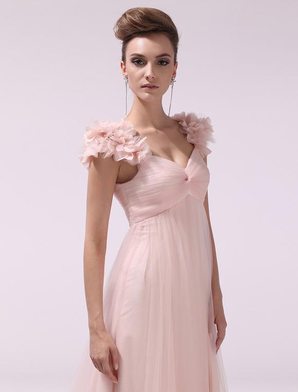 rosa abendkleid lang mit blumen und kapelle schleppe. Black Bedroom Furniture Sets. Home Design Ideas