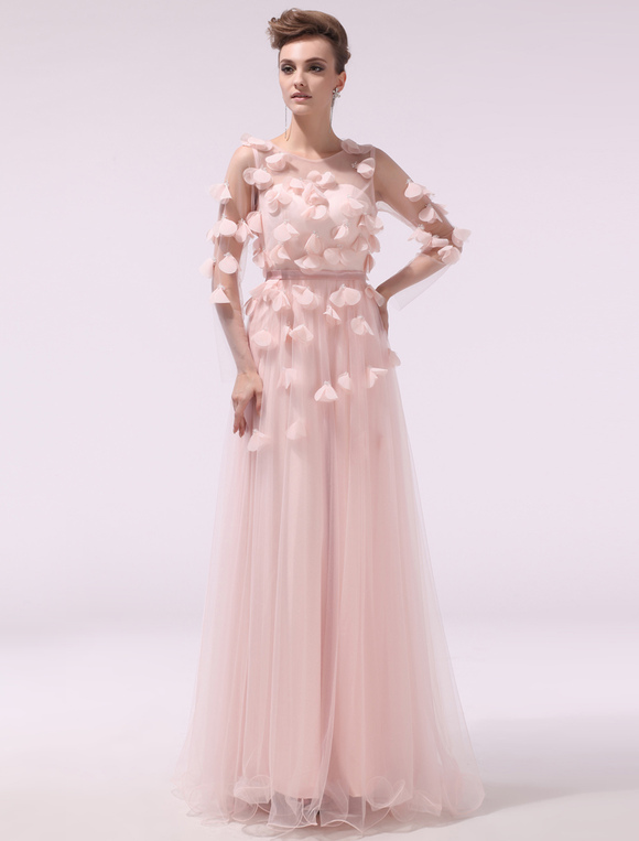 Fabelhaftes rosa abendkleid mit illusion rmeln und for Milanoo abendkleider