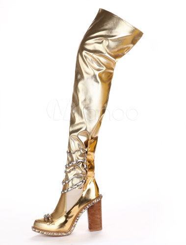 Sexy Gold Round Toe PU Leather Over the Knee Boots for Woman ...
