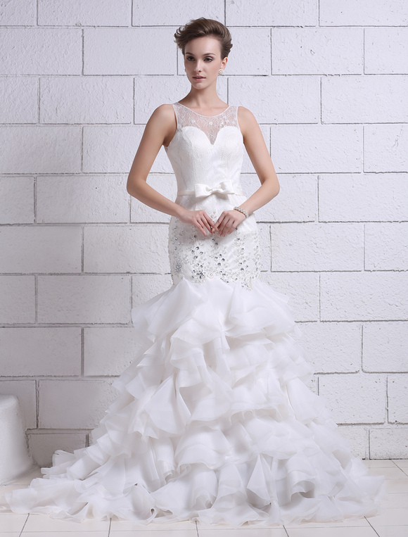 Ivory Organza Lace Bow Mermaid Trumpet Wedding Dress with Detachable Wrap