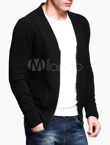schwarze herren strickjacke mit v ausschnitt und rei verschluss. Black Bedroom Furniture Sets. Home Design Ideas