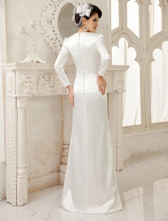 Ivory Sheath V Neck Floor Length Bridal Wedding Dress Milanoo