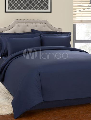 Quality Deep Blue 3 Piece Solid Color Cotton Duvet Cover