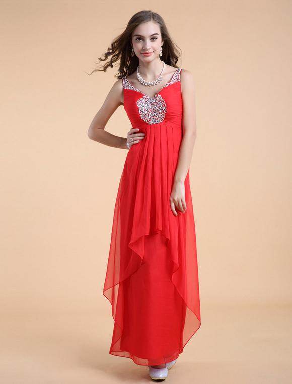 robe belle de bal rouge a ligne en chiffon col v avec perles longueur plancher. Black Bedroom Furniture Sets. Home Design Ideas
