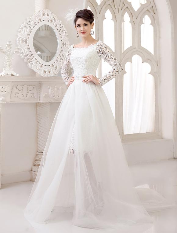 Vestido de novia de encaje con diseño hueco de cola desmontable  Milanoo,No.2