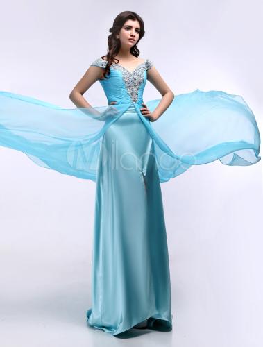Hellblaue abendkleid mit carmenausschnitt und schlitz for Milanoo abendkleider