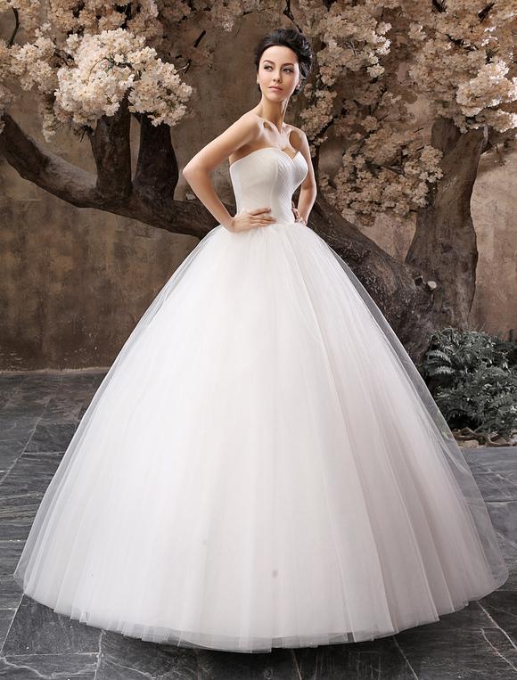 Vestido De Noiva Tomara Que Caia Princesa Decote Coracao Em Tule