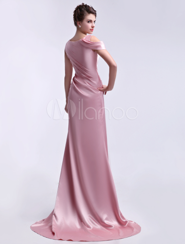 Niedliches abendkleid mit stickereien und schleppe in rosa for Milanoo abendkleider