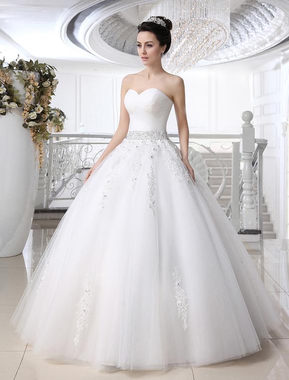 Robe de mari e gracieuse boule en tulle blanc avec strass for Meilleurs concepteurs de robe de mariage de plage