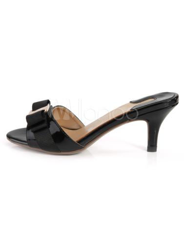 sandales mules bout ouvert en cuir v ritable verni noir petit talon. Black Bedroom Furniture Sets. Home Design Ideas